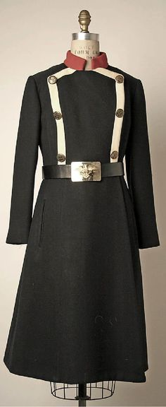 Coat, Bill Blass, ca. 1970, American, wool, leather and metal