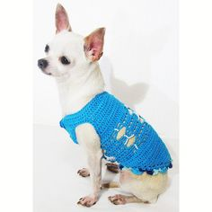 Blue Dog Clothes with Unique Pattern Handmade Crochet by myknitt