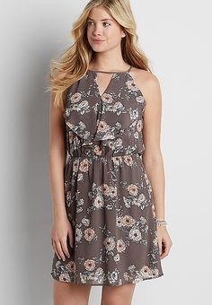 floral print dress with ruffles and peek-a-boo neckline | maurices