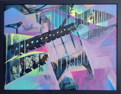 Abstract Art Purple painting Geometric Wall Art Acrylic by kacix