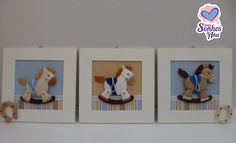 Kit Cavalinhos de feltro - para decoração do quarto do bebê    01 Guirlanda 33 cm  01 Trio de quadros 24 x 24 cm    Fazemos em outros temas e cores! Consulte-nos! Kit Bebe, Designer Baby, Baby Design, Bookends, Diana, Bb, Baby Shower, Frame, Home Decor