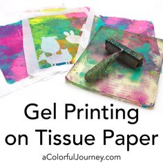 How to gel print on tissue paper tutorial by Carolyn Dube Printing On Tissue Paper, Tissue Paper Crafts, Felt Crafts, Gelli Plate Printing, Plate Art, Painted Paper, Textiles, Craft Tutorials, Craft Ideas