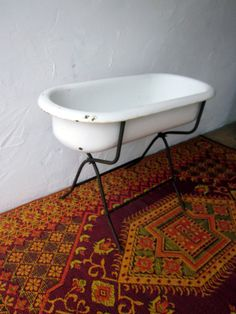 Authentic Vintage ANTIQUE Baby BATHTUB With Stand By Welovelucite, $365.50