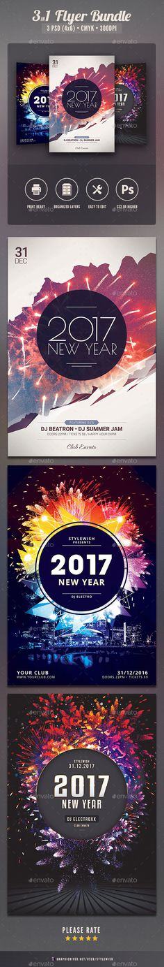New Year 2017 Flyer Template PSD Bundle