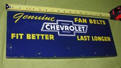 VINTAGE CHEVROLET FAN BELT METAL ADVERTISING SIGN CENTURY DISPLAY CHICAGO USA