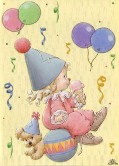 1604 best Birthday art images on Happy Birthday Cards, Birthday Wishes, Birthday Clown, Clowns, Pierrot Clown, Art Mignon, Precious Moments, Cute Illustration, Illustrations