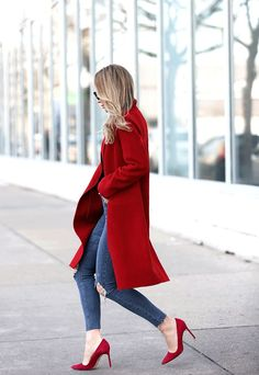Coat: Vince (similar here & here) | Denim: Topshop | Bodysuit: Only Hearts | Shoes: Manolo (and love these) | Sunglasses: Fendi When I'm in dire need of some color, a classic red overcoat always #fashionshoes,
