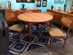 "MCMC Meredew Teak Pop Up Dinning Table From England   Dealer #3333  48"" Diameter x 29.5"" High   $725  Lucas Street Antiques Mall 2023 Lucas Dr.  Dallas, TX 75219  Like us on Facebook: http"