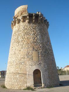 Valencia Torre del marenyet cullera - Small Castles, Valencia Spain, Fortification, Medieval, Coastal, Spanish, Granada, Building, Travel