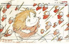 Enjoy a collection of Concept Art from Studio Ghibli Ponyo, featuring Character, Layout, Prop & Background Design. Totoro, Caricature, Graphic Design Illustration, Illustration Art, Animation Storyboard, Ghibli Movies, Walt Disney Pictures, Hayao Miyazaki, Illustrations