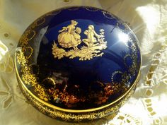 Antique 1930's French Cobalt and Gold Casket by SophieLadyDeParis, $120.00