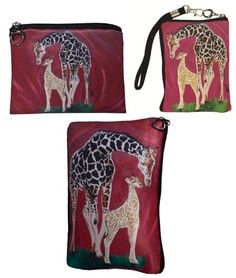 Giraffe Gift Set- Coin Purse, Wristlet and Cosmetic Bag - From My Original Painting, Full Circle - Support Wildlife Conservation, Read How Salvador