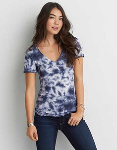 AEO Soft & Sexy V-Neck T-Shirt , Blue | American Eagle Outfitters
