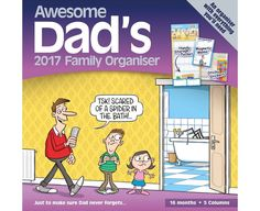 Wall Calendar 2017 Awesome Dads Family Organizer Planner With Pocket & Stickers for sale online