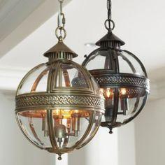 "Halden Glass Orb Pendant Light - $499.00 18""H x 12""D Finishes: Brass, Bronze $499.00"