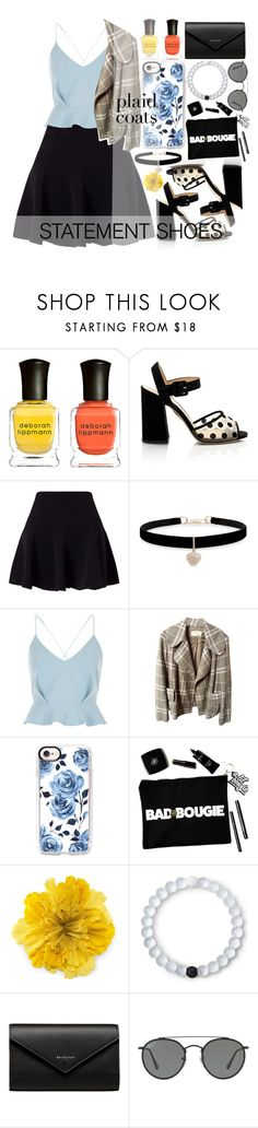 """""""Statement shoes and plaid coats"""" by fangirl-preferences ❤ liked on Polyvore featuring Deborah Lippmann, Miss Selfridge, Betsey Johnson, River Island, Burberry, Casetify, Gucci, Lokai, Balenciaga and Ray-Ban"""