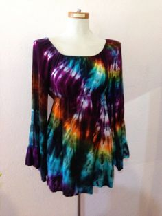 Hey, I found this really awesome Etsy listing at https://www.etsy.com/listing/166693049/tie-dye-bell-sleeve-tunic-top-bohemian