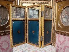 "Superb antique french Louis XVI fold screen for dolls.  19"" x 14""  $495.00"