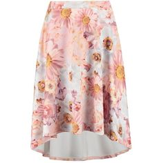 Boohoo Montana Large Floral Print Dipped Hem Midi Skirt | Boohoo ($10) ❤ liked on Polyvore featuring skirts, calf length skirts, midi skirt, short front long back skirt, floral skirt and red hi low skirt