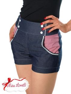 MISS LOVETT - Handmade Rockabilly Clothing - LILI MARLEEN Maritime High Waist Shorts