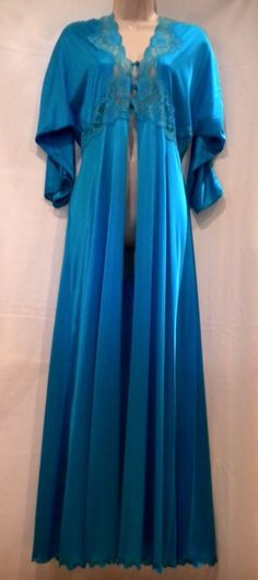 "Vintage Peignoir Robe Turquoise Blue Nylon Lace Button Bust M - Large 86"" Sweep  #Gilead"