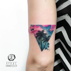 • • V I S I T O R S • I N • B A H A M A S •  #bahamas #visitors #palmtree #summer #triangle #triangletattoo #clouds #sky #abstract #abstracttattoo #watercolor #watercolortattoo #koraykaragozler #koray_karagozler