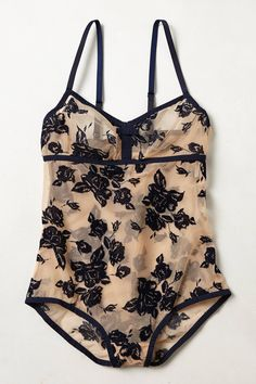 Idyll Bodysuit - anthropologie.  Nude and dark blue #lingerie #underwear #intimates