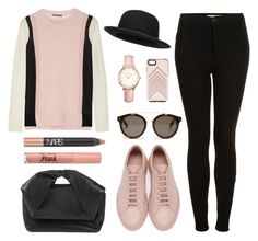 """""""Fashion Blogger black and pink"""" by stevie-pumpkin ❤ liked on Polyvore featuring Vince, Common Projects, Topshop, J.W. Anderson, STELLA McCARTNEY, Rebecca Minkoff, Too Faced Cosmetics and NARS Cosmetics"""