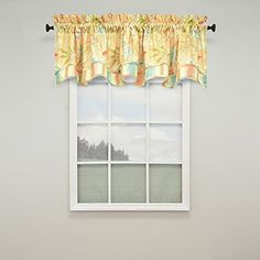Sunshine yellow and a riot of flowers make the Waverly Cape Coral Window Valance a perfect match to the Cape Coral collection. This valance is made. Waverly Curtains, Rose Curtains, Valance Curtains, Window Valances, Small Window Curtains, Lined Curtains, Kitchen Curtains, Decorative Curtain Rods, Decorative Pillows