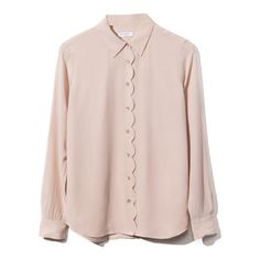 Equipment: Brett Clean Scallop Blouse (960 PEN) ❤ liked on Polyvore featuring tops, blouses, shirts, blusas, scalloped shirt, pink button up shirt, button down shirt, button up blouse y button front blouse