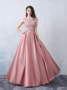 Beautiful Party Dresses 2016 Square Neckline Applique Lace Pink Satin Formal Dress With Bow-knot Pink Prom Dresses, Modest Dresses, Homecoming Dresses, Bridesmaid Dresses, Formal Dresses, Dresses 2016, Dress Prom, Long Dresses, Dress Long