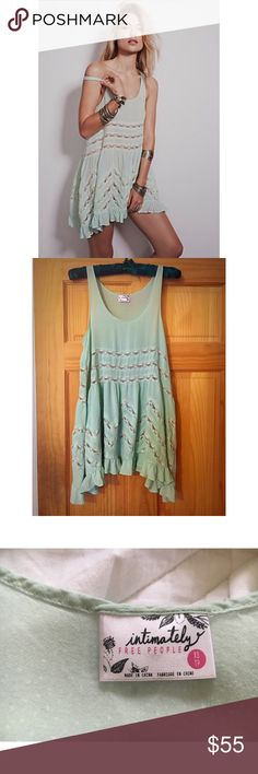 Free People Mint Voile and Lace The very best color Voile and Lace! Perfect for all seasons. Great condition. Free People Intimates & Sleepwear Chemises & Slips