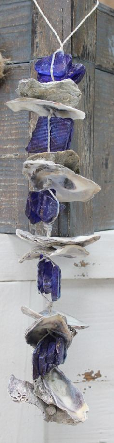 Driftwood and Dark Blue Sea Glass Garland - Shell Crafts & Coastal Home Decor - California Seashell Company