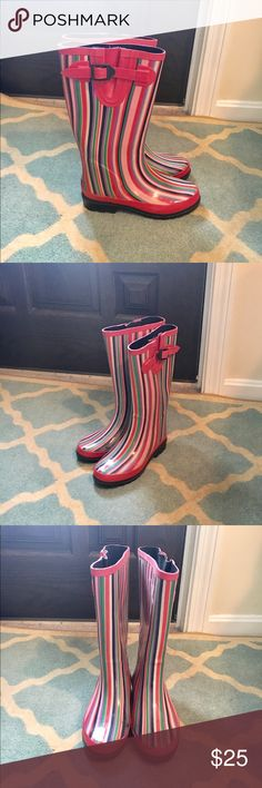 Striped Rain Boots Pink purple green striped rain. Lots with black sole bottoms. Boots by Ranger. Offers welcome!☔️🌦 ranger Shoes Winter & Rain Boots