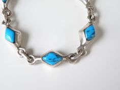 Vintage Taxco Mexico Sterling Silver 925 Turquoise Inlaid Geometric Bracelet #Taxco #Chain