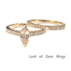 $628 Marquise Morganite Engagement Ring Sets Pave Diamond Wedding 14K Rose Gold,5x10mm