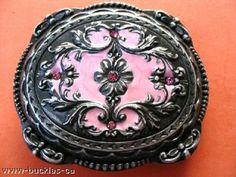 WESTERN COWGIRL RODEO RANCH ANTIQUE FLOWER BELT BUCKLE