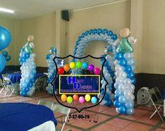 Decoración con globos bautizó niño