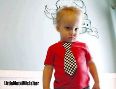 Rockabilly / Punk Rock Tie Shirt. Black and White Checkered Tie, toddler tee for Rocker / Greaser toddler or baby boy tee clothes 12 months via Etsy