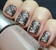 Catrice (UK) Nude with Red Angel plate 109, Konad Black and Essence Soft Touch top coat. (Ooohshinies)