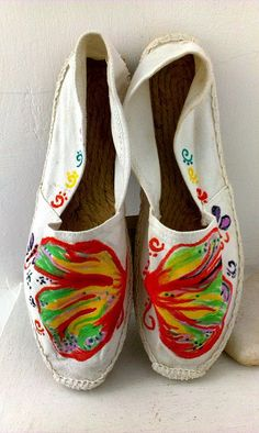 handpainted customized shoesbutterflies by MyDreamLamps on Etsy