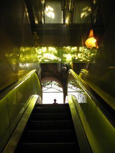 Hudson Hotel, NYC, escalator to the lobby
