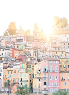 Pastel colors at sunset in Menton, France.