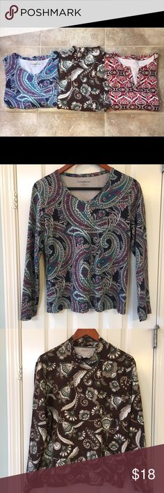 Bundle 3 long sleeve t-shirts Croft & Barrow and Kim Rogers long sleeve t-shirts. Paisley v-neck size large. Floral mock turtleneck size xl (longer in the body than the others). Aztec v-neck & 3/4 sleeves size xl. Tops Tees - Long Sleeve