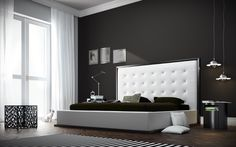 The awe-inspiring Ludlow eco leather bed commands instant attention when entering a room. The lavish button-tufted headboard stands five feet tall, elegantly framed in a wood border to match any decor. The smooth headboard seamlessly blends into its matching leather base with a wood border along the bottom edge. The mattress sits snuggly atop a solid pine-slat base for stylistic durability and added comfort. Platform height measures 14 inches (3 inch inset). Available in California-King, ...