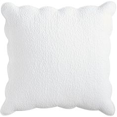 Pier 1 Imports White Clare Scalloped Pillow Sham ($28) ❤ liked on Polyvore featuring home, bed & bath, bedding, bed accessories, white, white bedding, white pillow shams, european bedding, pier 1 imports and white shams