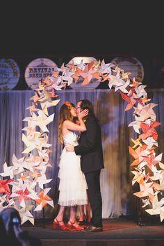 Pinwheel Backdrop - Whimsical Portland Brunch Wedding captured by June Lion - via ruffled Ceremony Backdrop, Ceremony Decorations, Wedding Groom, Wedding Ceremony, Wedding Arches, Wedding Beauty, Dream Wedding, Photo Booth Backdrop, Photo Backdrops