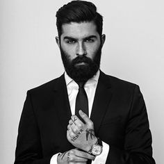 Chris John Millington - black beard dark beards mustache bearded man men mens' style fashion clothing suits tattoos tattooed