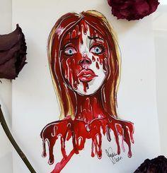 Horrorxland Horror Icons, Horror Films, Arte Horror, Horror Art, Carrie White, Heathers The Musical, Interesting Drawings, Horror Movie Characters, Halloween Inspo