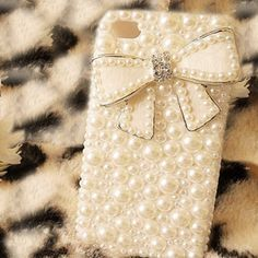 Handmade Fashion Girl Bling Bowknot Pearl Case Cover For iPhone 4 4G 4S
